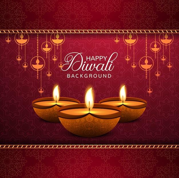 Fondo rosso decorativo elegante felice di diwali