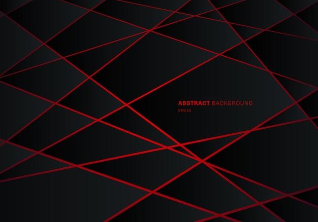 Fondo rosso del laser del poligono geometrico nero astratto.
