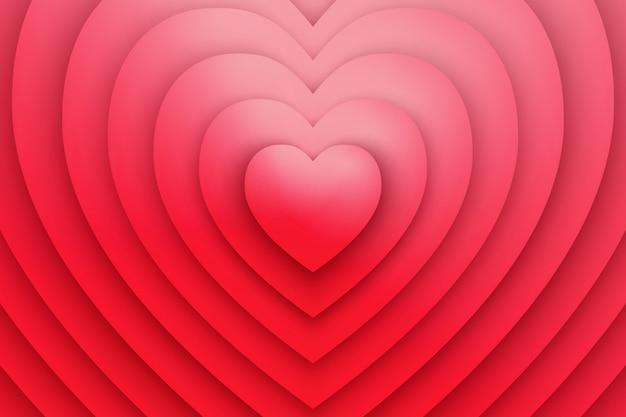 Fondo rosso dell'estratto 3d di simbolo di amore del cuore