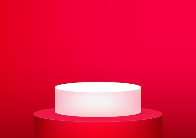 Fondo rosso dello studio vuoto del podio per l'esposizione del prodotto.