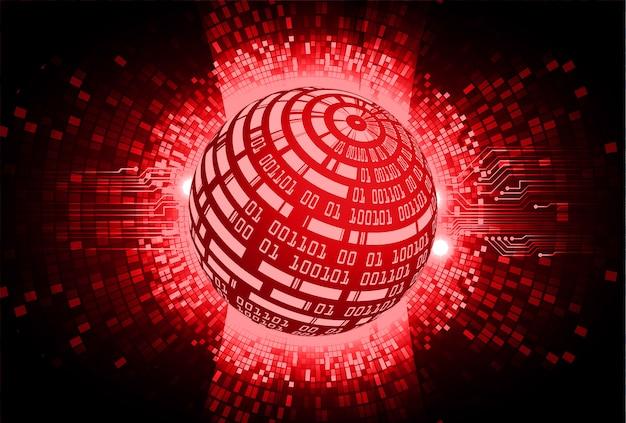 Fondo rosso di concetto di tecnologia del futuro circuito cyber del mondo