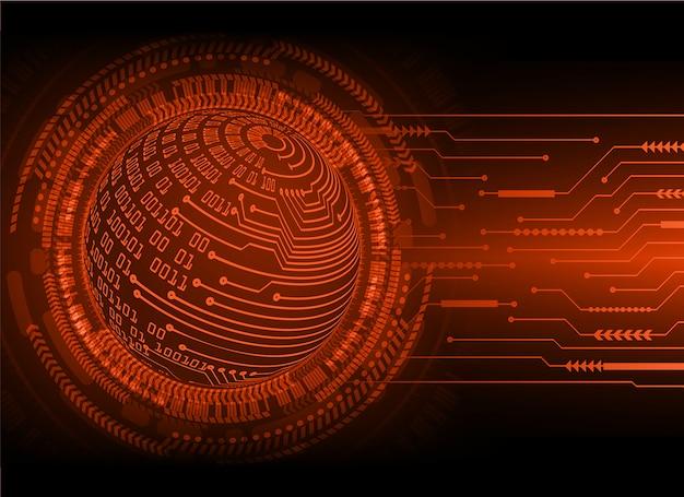 Fondo rosso di concetto di tecnologia del futuro del circuito cyber del mondo