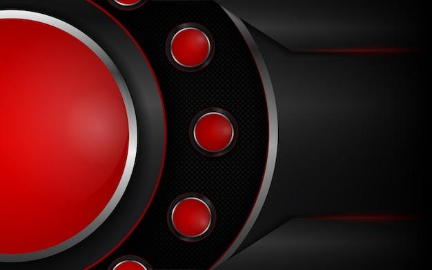 Fondo rosso e nero astratto di forme metalliche
