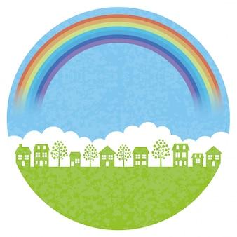 Fondo rotondo del townscape con l'arcobaleno
