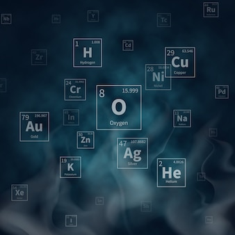 Fondo scientifico di vettore con i simboli degli elementi chimici e fumo bianco