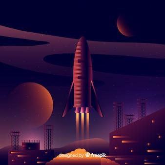 Fondo scuro del razzo 3d