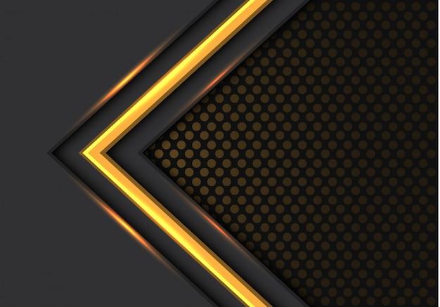 Fondo scuro della maglia del cerchio di direzione della freccia della luce gialla.
