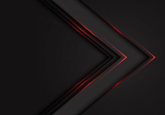 Fondo scuro dello spazio in bianco di direzione della freccia nera della luce rossa.