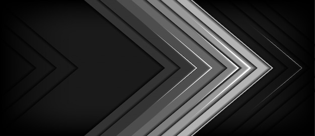 Fondo scuro dello spazio in bianco di direzione grigia astratta della freccia del metallo