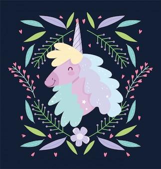Fondo scuro di buio del fumetto sveglio magico di fantasia floreale dei fiori dell'unicorno