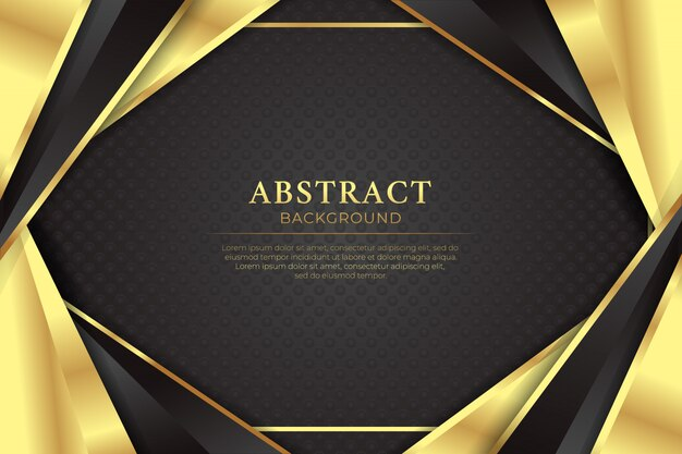 Fondo scuro di lusso dorato nero astratto con la linea dorata