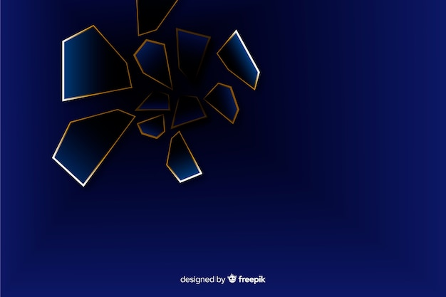 Fondo scuro e dorato poligonale