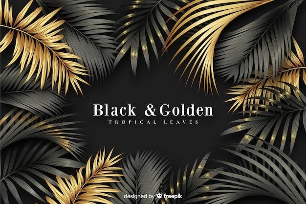 Fondo scuro e dorato realistico delle foglie