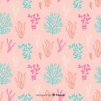 Fondo semplice di corallo disegnato a mano
