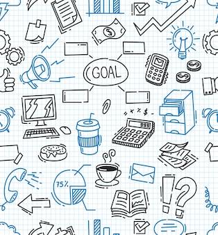 Fondo senza cuciture a tema business doodle