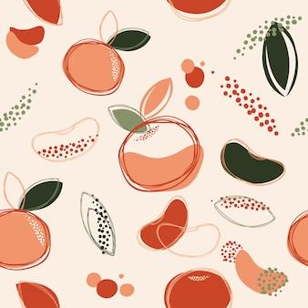 Fondo senza cuciture astratto arancia o mandarino arte disegno vettoriale ed illustrazione