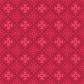 Fondo senza cuciture classico batik. carta da parati geometrica di lusso. elegante motivo floreale tradizionale di colore rosso