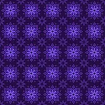Fondo senza cuciture classico batik. carta da parati mandala geometrica di lusso. elegante motivo floreale tradizionale di colore viola