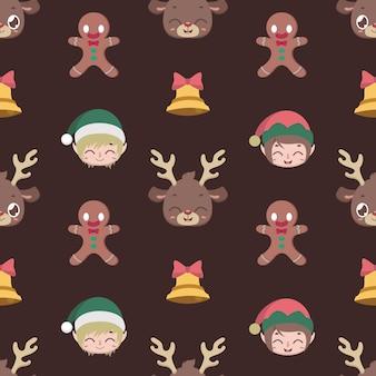 Fondo senza cuciture con personaggi natalizi