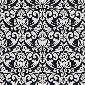 Fondo senza cuciture damascato. ornamento damascato vecchio stile di lusso classico, trama vittoriana reale senza soluzione di continuità per sfondi, tessile, avvolgimento. squisito modello barocco floreale.