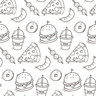 Fondo senza cuciture degli alimenti industriali nell'illustrazione di stile di scarabocchio
