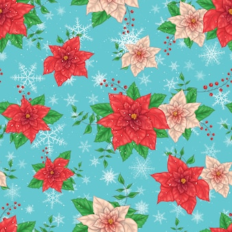 Fondo senza cuciture dei fiori della stella di natale di inverno di natale