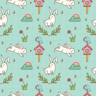 Fondo senza cuciture del coniglietto di kawaii