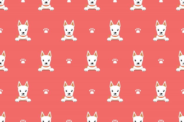 Fondo senza cuciture del modello del cane bianco sveglio del personaggio dei cartoni animati