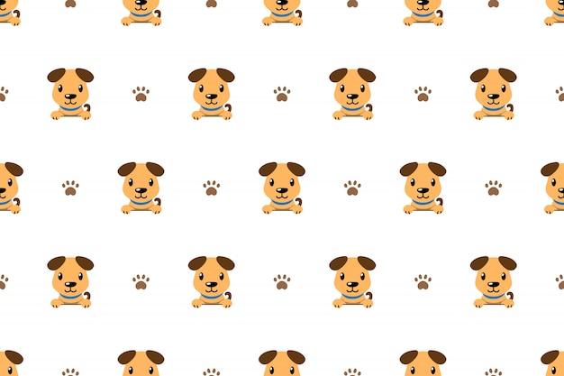 Fondo senza cuciture del modello del cane sveglio del personaggio dei cartoni animati