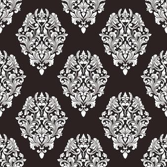 Fondo senza cuciture del modello del damasco di vettore. ornamento damascato vecchio stile classico di lusso, trama senza cuciture vittoriana reale per sfondi, tessuti, confezioni. modello barocco floreale squisito.