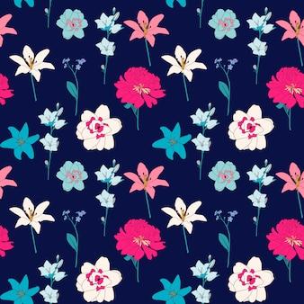 Fondo senza cuciture del modello del fiore disegnato a mano astratto. illustrazione