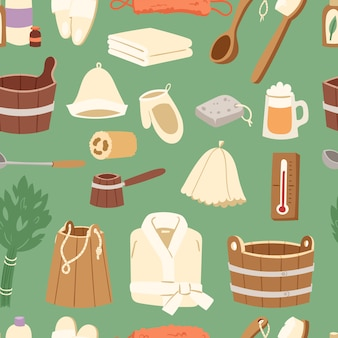 Fondo senza cuciture del modello dell'illustrazione del secchio di sauna della scopa del bagno di concetto di sanità del vapore della stazione termale dell'acqua calda della stazione termale del bagno