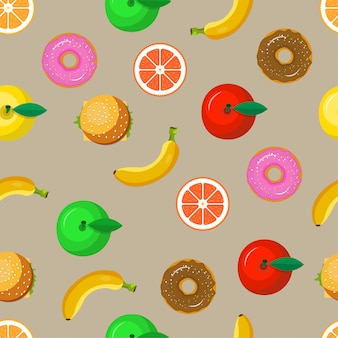 Fondo senza cuciture del modello della frutta e dell'alimento