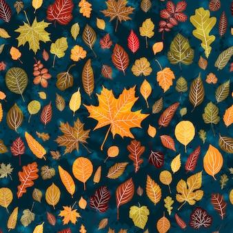 Fondo senza cuciture del modello delle foglie di autunno