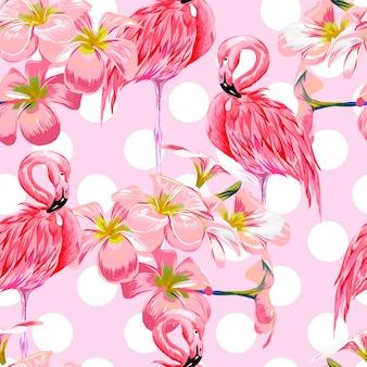 Fondo senza cuciture del modello delle foglie floreali animali dell'acquerello