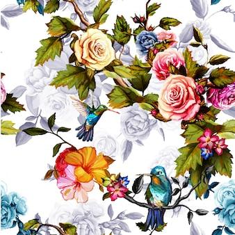 Fondo senza cuciture del modello delle foglie floreali dell'acquerello