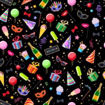 Fondo senza cuciture festivo di carnevale della festa di celebrazione. modello di simboli colorati - cappello, maschera, regali, palloncini, bandiere di fuochi d'artificio di champagne