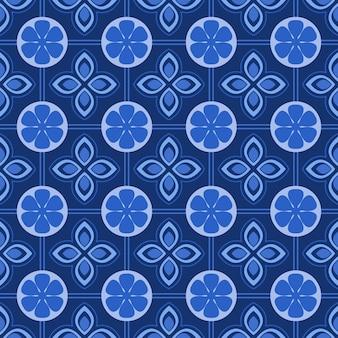 Fondo senza cuciture floreale del damasco blu e bianco.