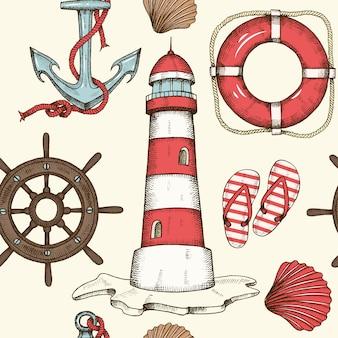 Fondo senza cuciture nautico di estate d'annata con la ruota disegnata a mano
