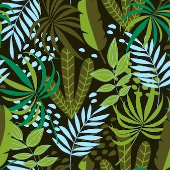 Fondo senza cuciture tropicale con piante e foglie