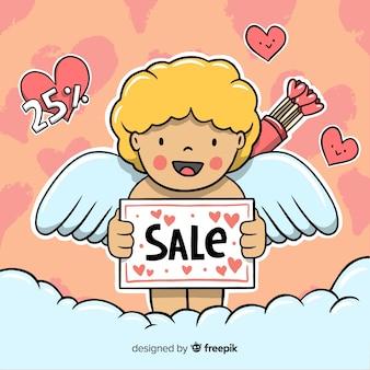 Fondo sorridente di vendita del biglietto di s. valentino del cupido