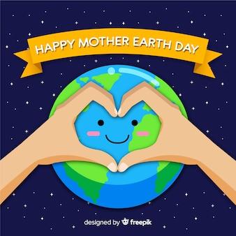 Fondo sorridente piano di giorno di terra di madre del pianeta