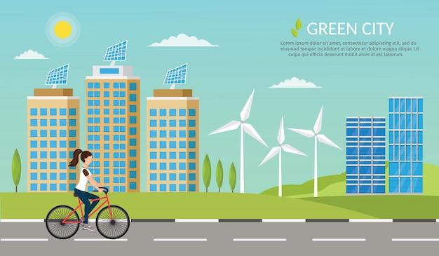 Fondo stabilito di paesaggio urbano di stile di vita dell'illustrazione della bici di ecologia di forma fisica della donna