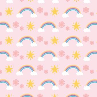 Fondo sveglio del fumetto di fantasia magica della decorazione delle stelle dei fiori degli arcobaleni
