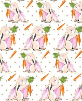 Fondo sveglio del modello del coniglietto di pasqua