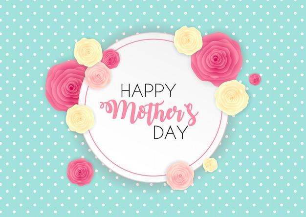 Fondo sveglio di giorno felice del `s della madre con i fiori.