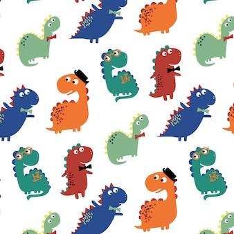 Fondo sveglio disegnato a mano del modello di dinosauro