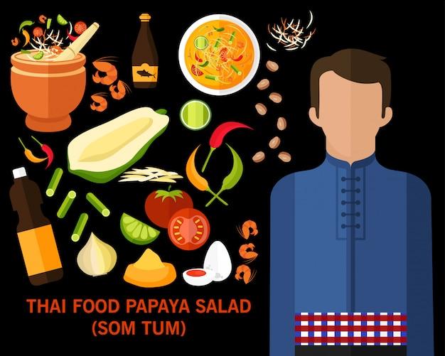 Fondo tailandese di concetto dell'insalata della papaia