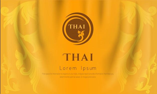 Fondo tradizionale tailandese, le arti del concetto della tailandia, colore giallo ,.