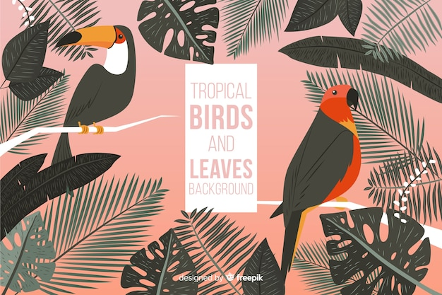 Fondo tropicale disegnato a mano degli uccelli e delle foglie
